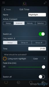 "iConnectHue ""Nightlight"" Timer Settings"