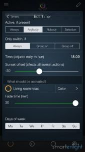 iConnectHue Sunset Timer Settings