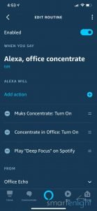 Screenshot of Alexa App - Office Concentrate Routine