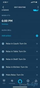 Screenshot of Alexa App - 6pm Scheduled Routine