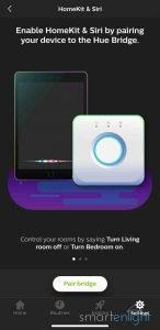Screenshot of Philips Hue app HomeKit and Siri - pair bridge 1