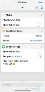 Screenshot of Shortcuts app BBQ ready