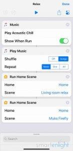 Screenshot of Siri Shortcut - Nanoleaf Aurora
