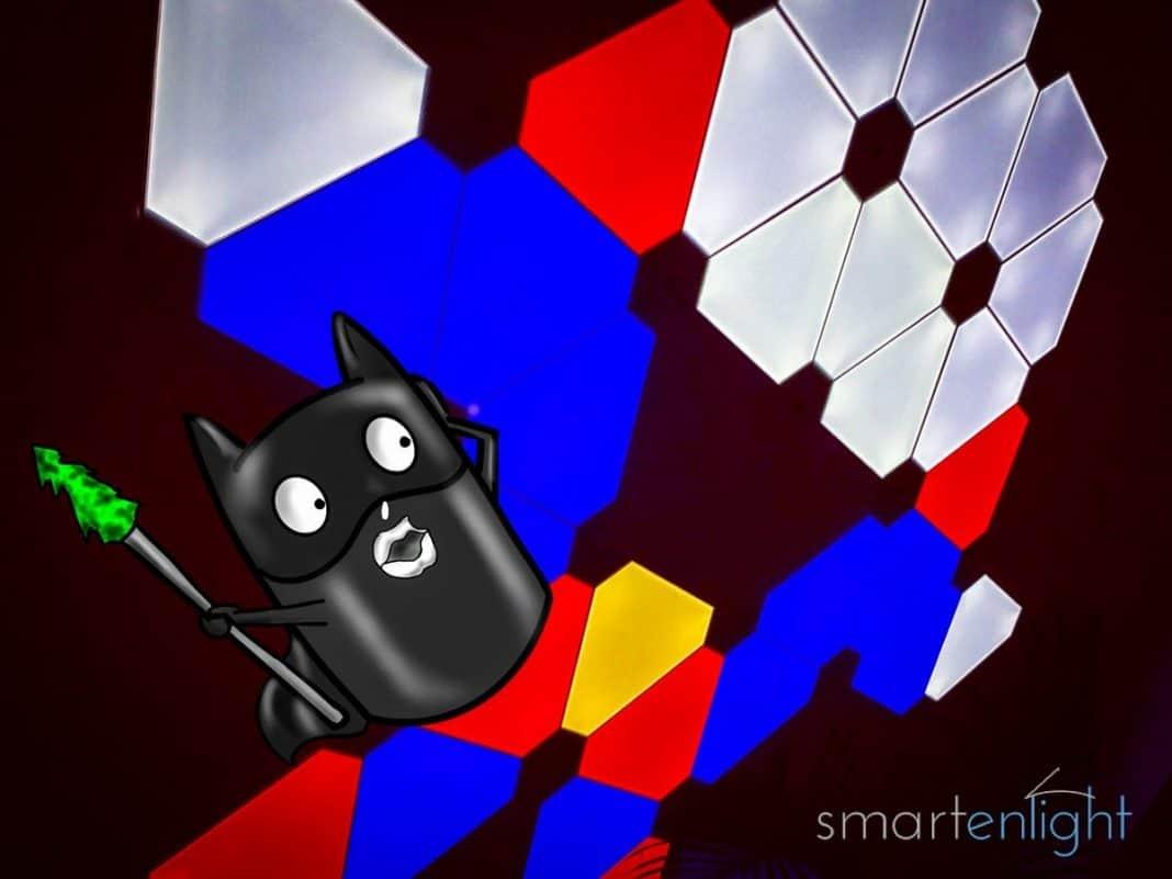 Illustration of Siri as Batman and Nanoleaf Aurora as Superman