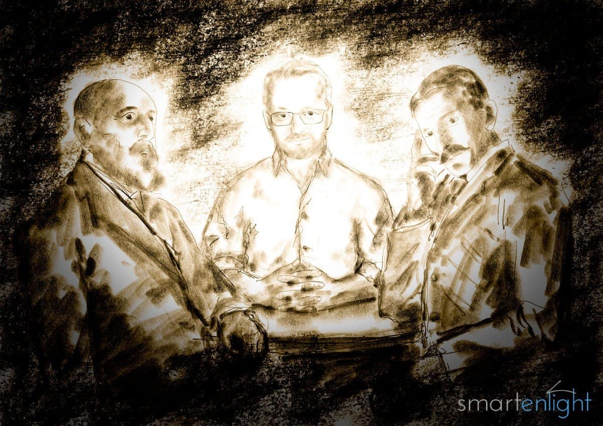 Drawing of Leonardo Torres y Quevedo, some unknown inventor and Nikola Tesla pondering on remote controls.