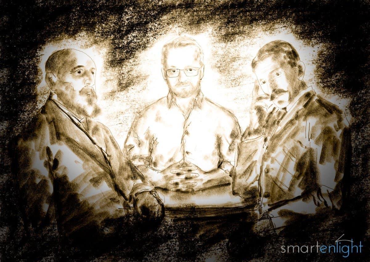 Drawing of Leonardo Torres y Quevedo, some unknown inventor and Nikola Tesla pondering on remote controls.