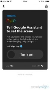 IFTTT Applet: Tell Google Assistant to set a scene