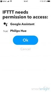 Google Assistant and Philips Hue Services in IFTTT