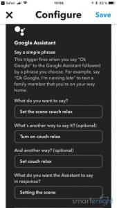 Google Assistant configuration in IFTTT