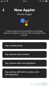 Picking the Google Assistant trigger in IFTTT