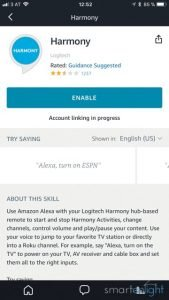 Alexa Harmony Skill page