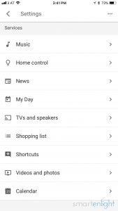 Google Assistant Shortcuts menu