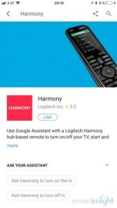 Google Logitech Harmony app