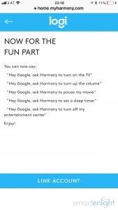 Google Logitech Harmony link account