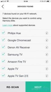 Logitech Harmony found WiFi Devices