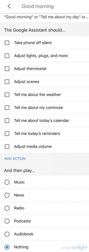 ScreenShot Google Assistant predefined routine
