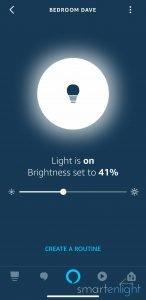 Screenshot Alexa App Bedroom Dave light is ON