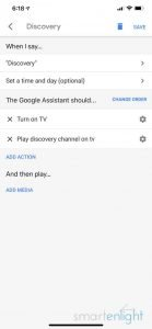 Screenshot of Google Home App - Discovery Routine