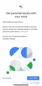 Screenshot of Google Home Personal Results