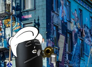 Illustration of Siri playing trumpet in the streets of San Francisco