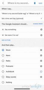 Google Home app Screenshot of Custom Easter Egg Routine