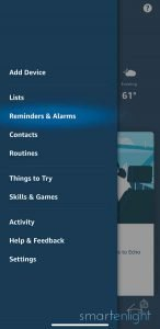 Alexa App Menu Overview