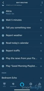 Screenshot of Alexa Morning Routine 2