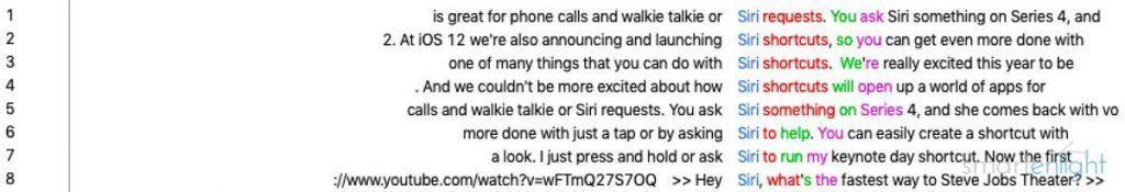 Apple Event 2018-09 Siri Mentions