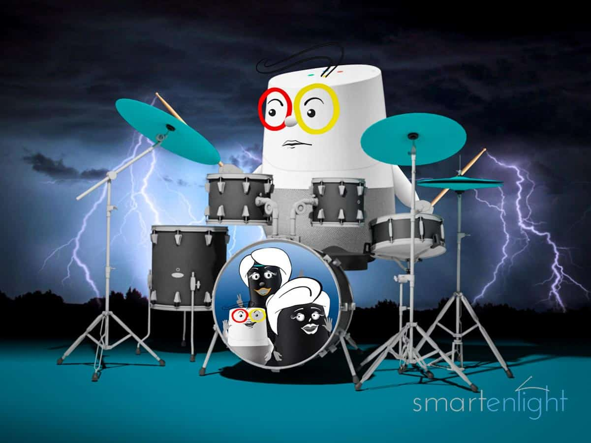 Google Music Commands 2021: Google Home drumming with lightning coming from his drum sticks.