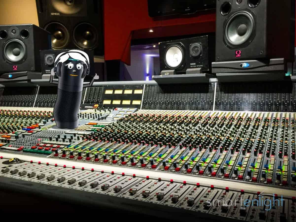 Alexa Music Commands 2021 - Alexa on a studio mixer listening to HD music with her studio headset