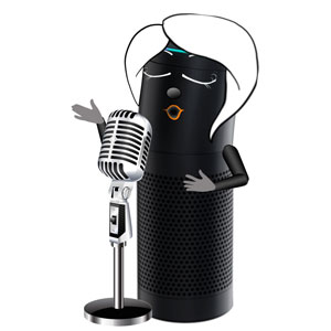 Alexa with a microphone playing her favorite podcast