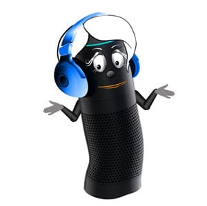 Alexa with headphones surprised about the ads
