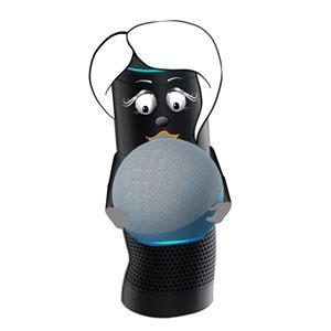 Alexa holding a big new Amazon Echo