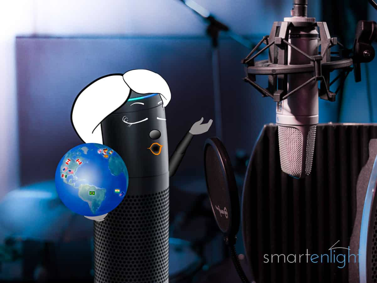 Alexa sings in a studio holding a globe with flags from Germany, Canada, United States, United Kingdom, India, Australia, Spain, Mexico, Italia and Brazil