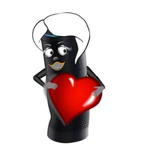 Amazon Alexa holding a heart