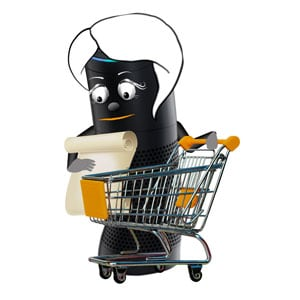 Amazon Alexa with shopping cart and shopping list