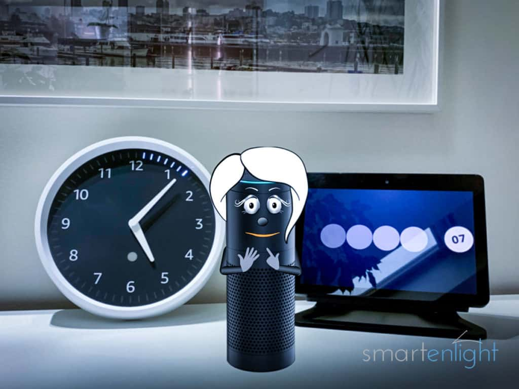 7 seconds to go- Alexa with an Echo Wall Clock and and Echo Show counting down